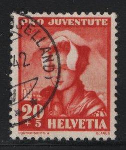 SWITZERLAND B123, USED, 1942 Girl from Glarus