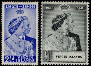 BRITISH VIRGIN ISLANDS GVI SG124-125, ROYAL SILVER WEDDING set, M MINT. Cat £16.