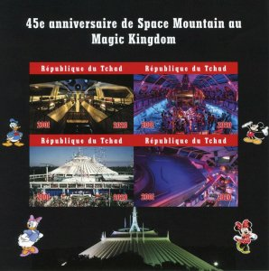 Chad Disney Stamps 2020 MNH Space Mountain Magic Kingdom 45th Anniv 4v IMPF M/S
