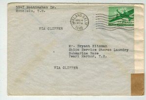 1942 Clipper Airmail Honolulu Hawaii To USA C29 20c Solo Use EXAMINED TAPE WW2