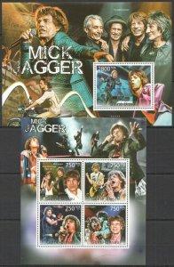 J0990 2011 GUINEA-BISSAU MUSIC LEGEND MICK JAGGER THE ROLING STONES 1BL+1KB MNH