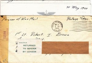 1944, WW2: Inglewood, CA to US POW at Stalag Luft, RTS by Censor (C3348)