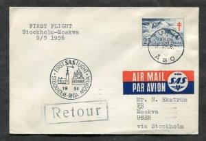 p28 - FINLAND 1956 Cover. Fish Semi-Postal. SAS First Flight Sweden-Russia, Riga