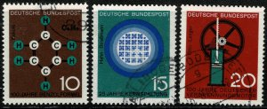 GERMANY 1964 SCIENTIFIC ANNIV 1st SERIES SET USED (VFU) P.14 SG1345-47 SUPERB