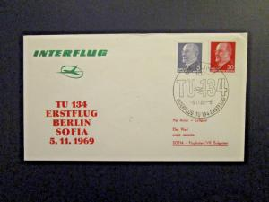 Germany DDR 1969 Berlin - Sofia Flight Cover - Z4620