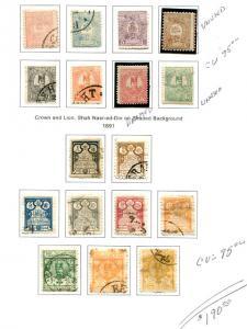 Iran  1889  Lot   usef  on page   -   Lakeshore Philatelics