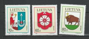 Lithuania 1994 Coat of Arms 3 MNH stamps