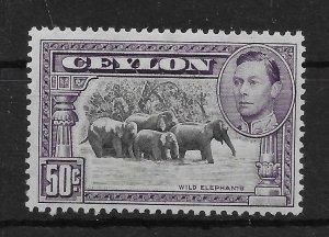 CEYLON SG394a 1938 50c BLACK & MAUVE p13x13½ MTD MINT