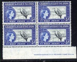 Gilbert & Ellice Islands 1956 - 62 QE2 1/2d Block of 4 Umm SG 64 ( R621 )