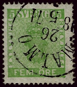 Sweden Attractive Sc#6 Used F-VF Cat $20.00...Sweden is Hot Now!