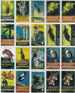 CN2) Australia 1934 Victoria Centenary reprinted 1st set of 25 labels