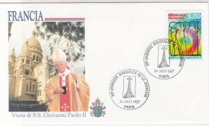 France 1997 Celebrating Visit of the Pope Slogan Cancel Stamps Cover Ref 31635