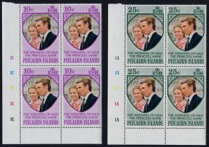 Pitcairn Islands 135-6 BL Blocks Plate 1A,1C MNH Princess Anne, Wedding