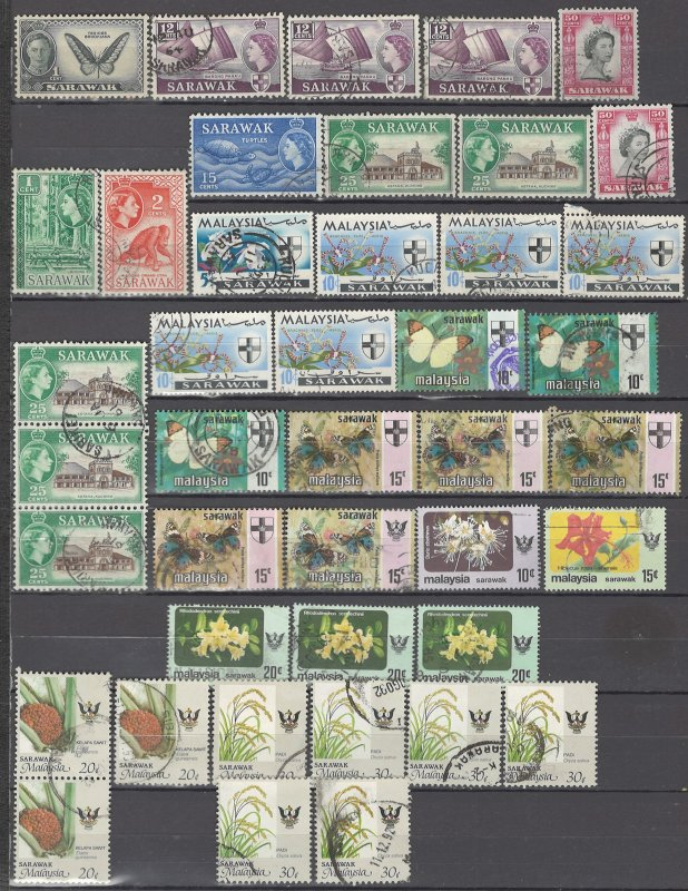 COLLECTION LOT OF #1015 SARAWAK 42 STAMPS 1950+ CLEARANCE