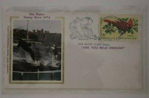San Mateo CA Stamp Show 1974 Philatelic Expo Cachet  killer whale colorano silk