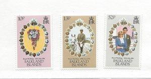 Falkland Islands, 324-26, Royal Wedding 1981 Singles, MNH