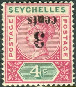 SEYCHELLES-1893 3c on 4c Carmine & Green SURCHARGE/INVERTED A Sg 15a