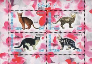 Chad Cats Abyssin Domestic Animal Souvenir Sheet of 4 Stamps Mint NH