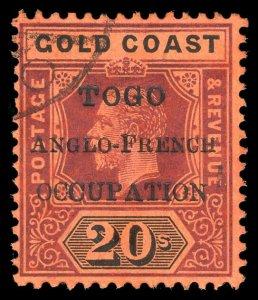 Togo 1914 KGV 20s purple & black/red very fine used. SG H58. Sc 91.