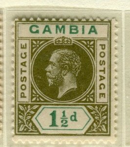 GAMBIA; 1921 early GV issue fine Mint hinged 1.5d. value
