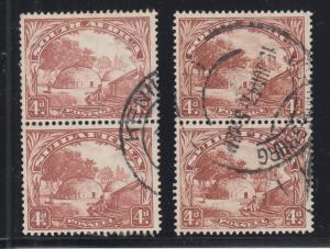 South Africa Sc 40, 41, used. 1932 & 1936 4p Native Kraal, original and redrawn