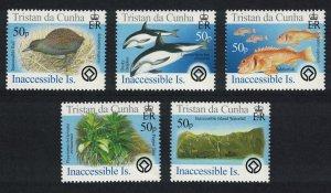 Tristan da Cunha Birds Fish Marine Life Plants Inaccessible Island 5v SG#828-832