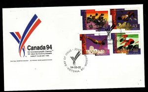 Canada-Sc#1519-22-stamps on  FDC-Sports-Commonwealth Games-Cycling-Diving-1994-