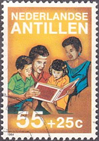 Netherlands Antilles # B224 used ~ 55¢ + 25¢ Parents Reading To Children