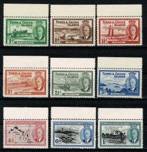 TURKS & CAICOS ISLAND 1950 KG VI PART SET SG221-29 MH MARGIN Wmk.MSCA P.12.5 VGC