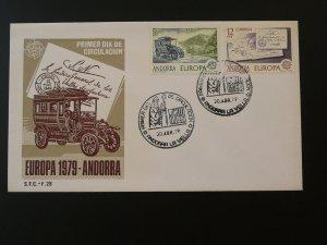 car automobile Europa Cept 1979 postal history FDC Andorra 79720