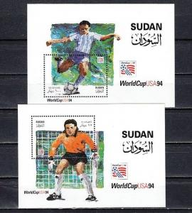 Sudan, Scott cat. 479-480. U.S.A. Soccer Cup s/sheets. ^