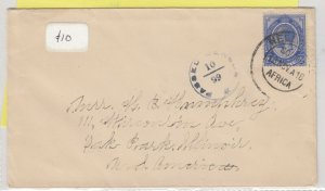 South Africa 1918 Censor Cover To Illinois Postal History J6068