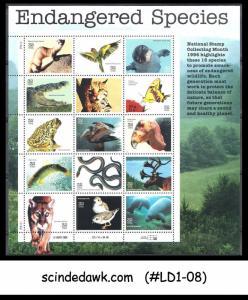 USA UNITED STATES - 1995 ENDANGERED SPECIES / ANIMALS / BIRDS / SNAKES - SHEETLE
