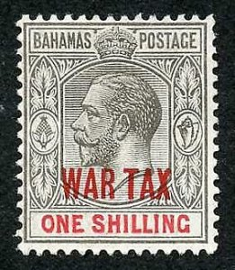 Bahamas SG99 1/- grey-black and carmine opt WAR TAX M/M  Cat 15 pounds