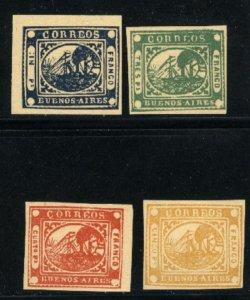 Argentina Buenos Aires #2-5   Repints?  Mint 1858 PD