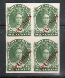 Nova Scotia #13Pi #13Pii Extra Fine Proof Block With Type B & C Specimen