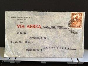 Peru Hilbck Kuntze & Cia Air Mail to England via New York stamps cover R31444