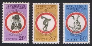 Upper Volta Basketball Wrestling Dakar Games 3v 1963 MNH SG#114-116
