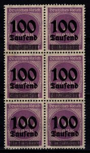 Germany 1923 100m Definitive Optd. with 100 Tausend, Block of 6 [Mint]