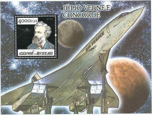 Guinea-Bissau Concorde & Jules Verne Silver Foil Stamp Sheet GB5p08bs