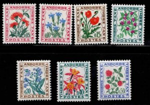 Andorre (French) Andorra Scott J46-52 MH* 1974 postage due flower set