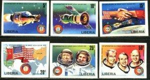 LIBERIA Sc#715-720 Imperforate 1975 Apollo-Soyuz Space Complete Set OG MNH