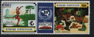 CENTRAL AFRICAN REPUBLIC,C82, HINGED, PEN MARK ON BACK, 1970, 6TH INTL. PHIL. EX