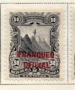Nicaragua 1893 Early Issue Fine Mint Hinged 50c. Official Optd 323722