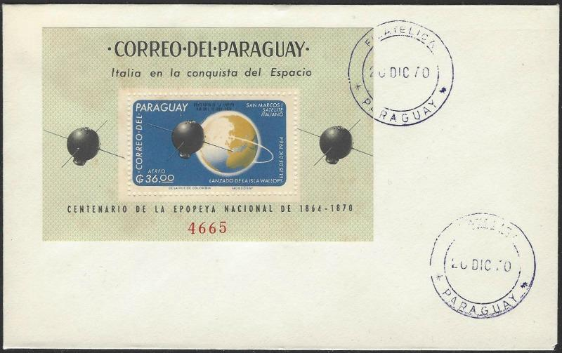 Paraguay Mi Block #87 on 1970 Cover