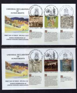 UN New York 582-583 Joint Issue WFUNA Set of Two U/A FDCs