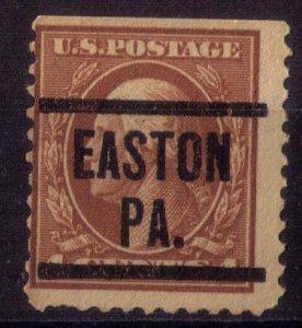 US Scott #503 Precancel EASTON PA. 4c Brown Fine