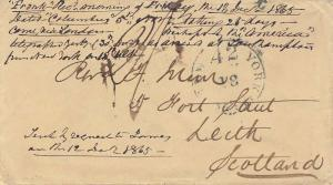 Stampless New 42 York Br. Pkt. 1865 serifed cds on Stampless Cover to Leith, ...