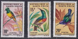 Burkina Faso # 136-138, Birds, Hinged, 1/3 Cat.