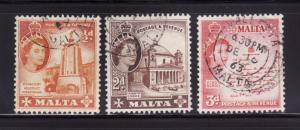 Malta 247, 250, 252 U Queen Elizabeth II (C)